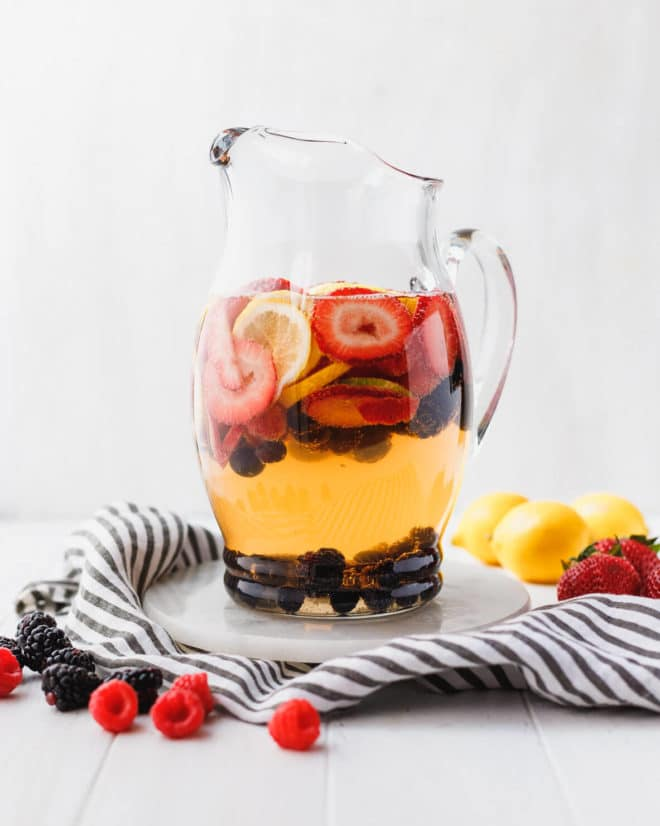 White Wine Berry Sangria Recipe in a clear pitcher