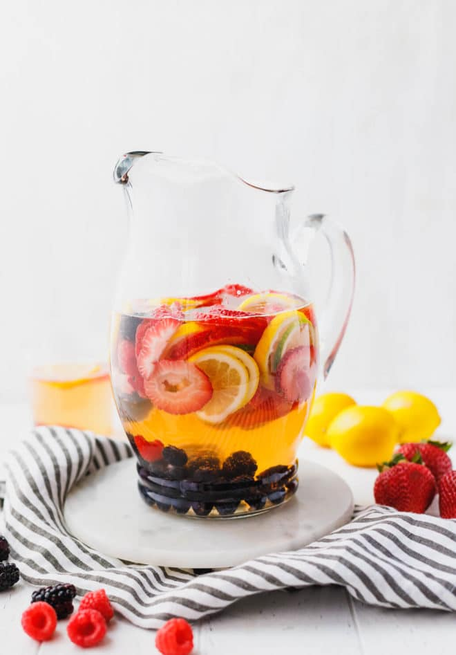 White Wine Berry Sangria in a wine pitcher