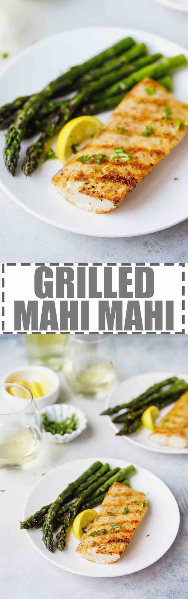 Easy Grilled Mahi Mahi Recipe - simple and delicious way to prepare white fish. Served with grilled asparagus or other vegetables of your choice. Paired with a glass of Vinho Verde Estreia. Perfect for Summer, Grilling Season and 4th of July! #mahimahi #grilling