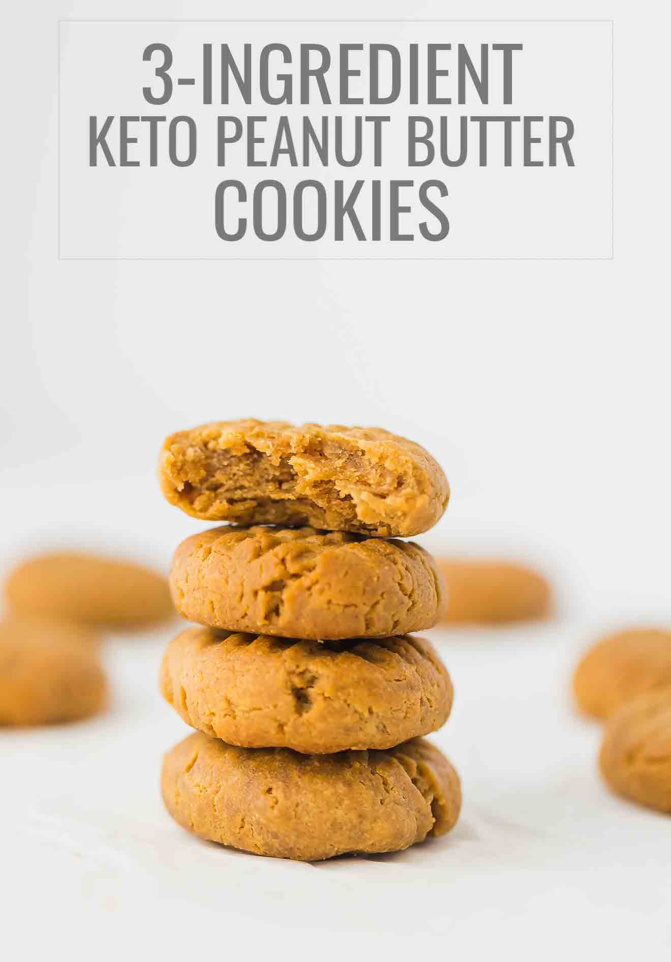 Keto Peanut Butter Cookies Recipe - low-carb, sugar-free, gluten-free cookies made with only 3 ingredients in 20 minutes.