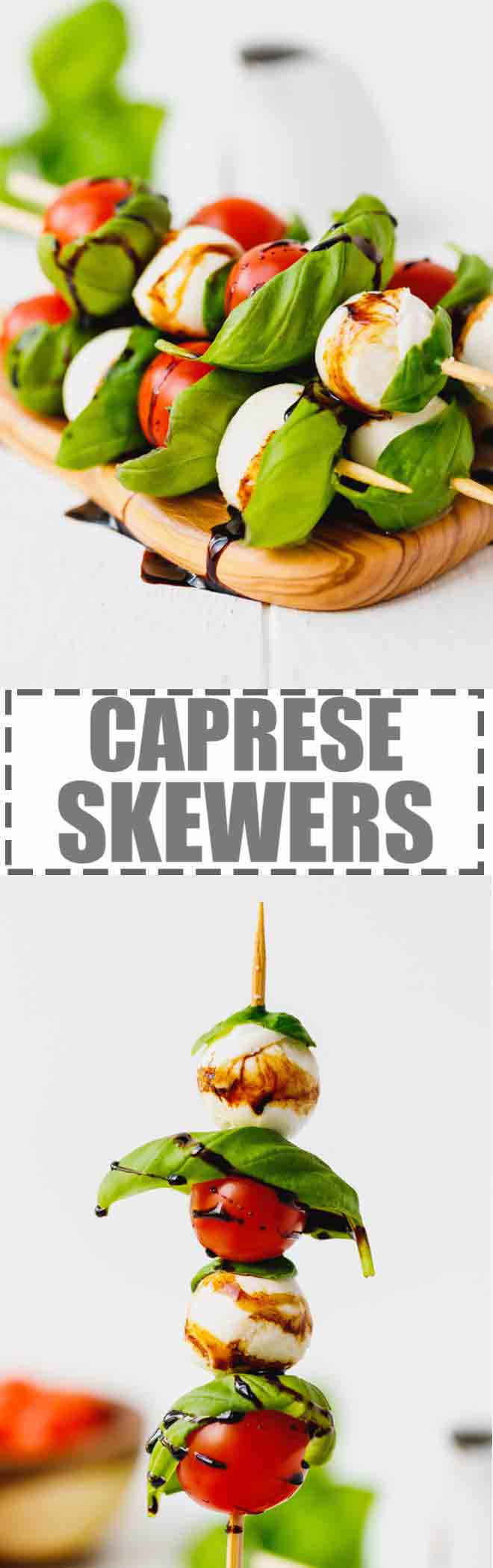 Caprese Skewers With Balsamic Glaze Recipe - light and fresh Caprese salad on a stick. Party style appetizer made with just four main ingredients and wooden skewers. #CAPRESE #SKEWERS #SALAD #PARTYFOOD #ANTIPASTO