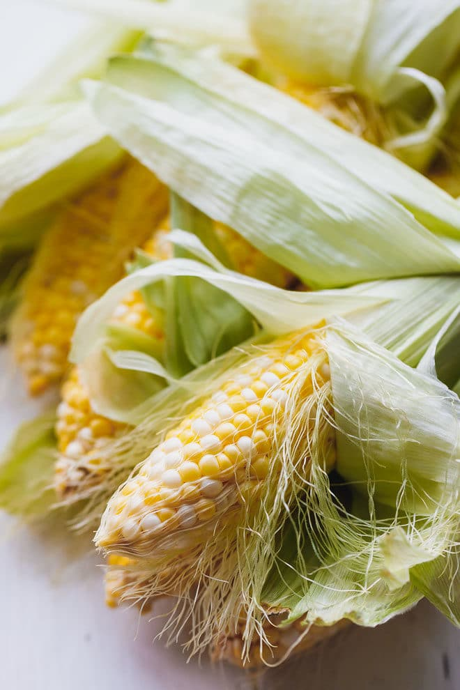 Corn on the cob with husks removed halfway