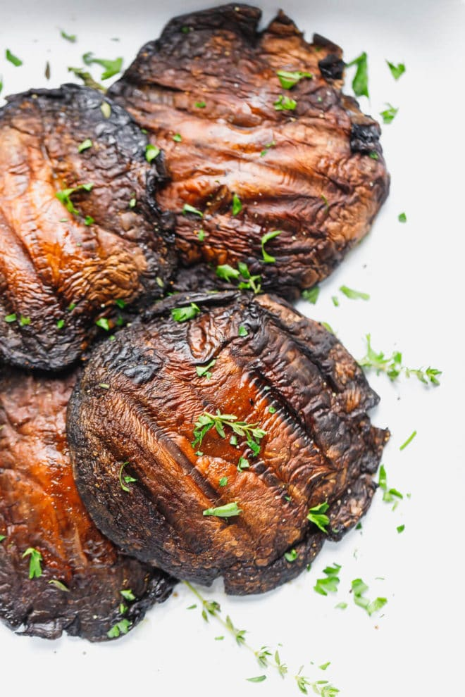 Golden Grilled Portobello Mushrooms with parsley