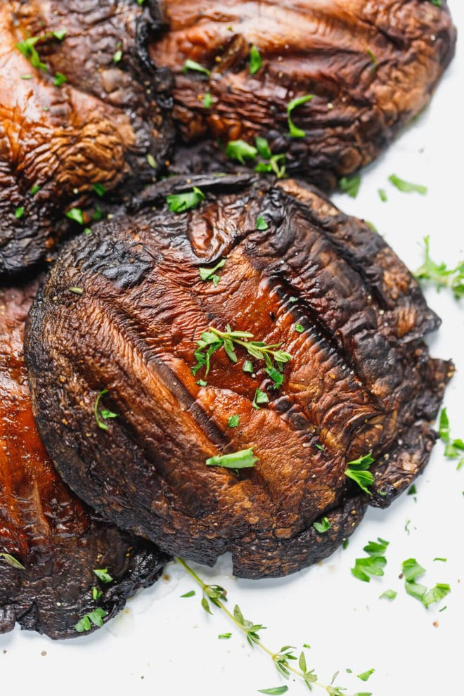 Grilled portobello mushrooms recipe with grill marks
