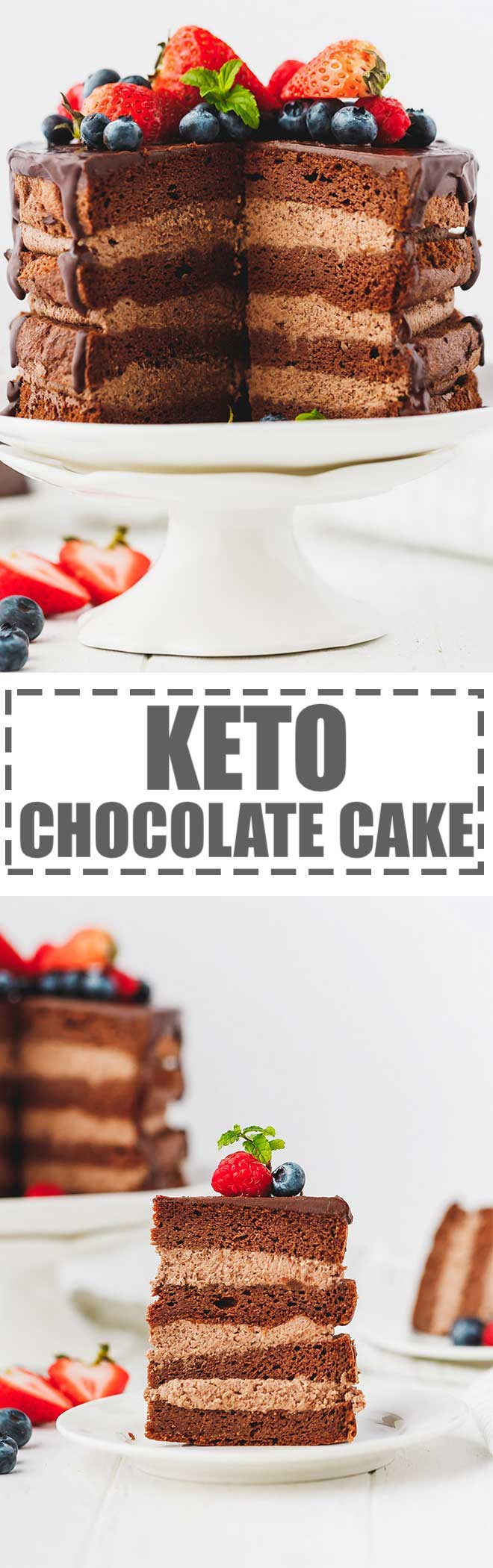 This Keto Chocolate Cake is low-carb, gluten-free, sugar-free and flourless. Very moist and chocolatey cake layers with a creamy chocolate mascarpone filling in between. Small 6-inch cake that is easy to make and great for parties. Mug cake option available, too. #ketocake #ketodessert #ketochocolate #chocolatecake