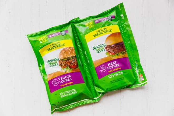 Packages with MorningstarFarms® Frozen Vegan burgers