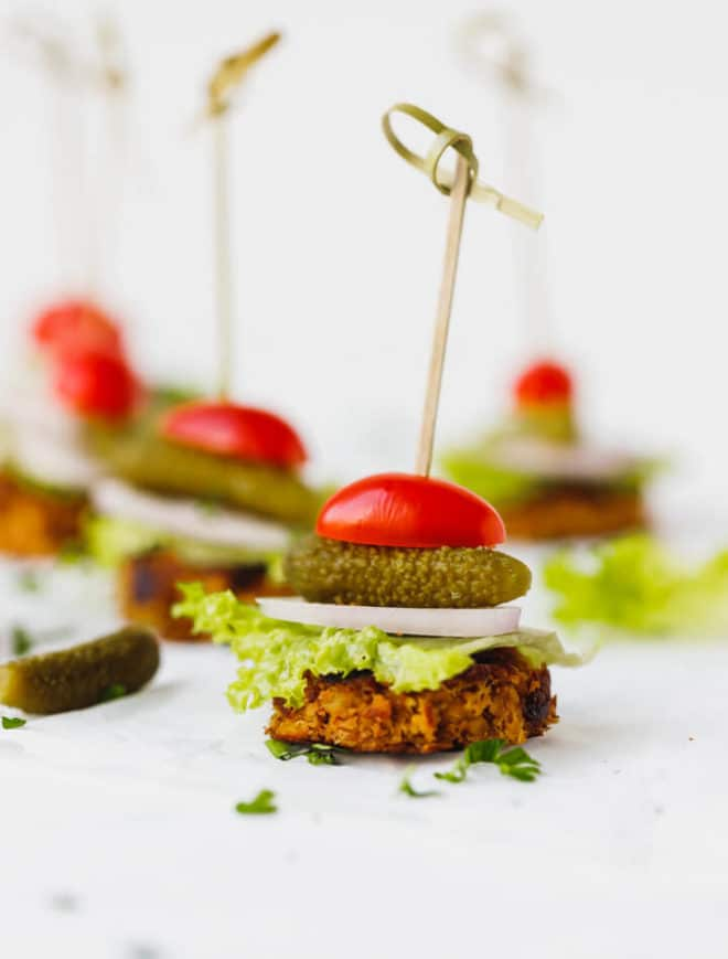 Mini sliders -bite sized vegan burgers on an appetizer stick