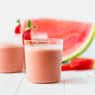 Easy Watermelon Smoothie Recipe in a glass with strawberry
