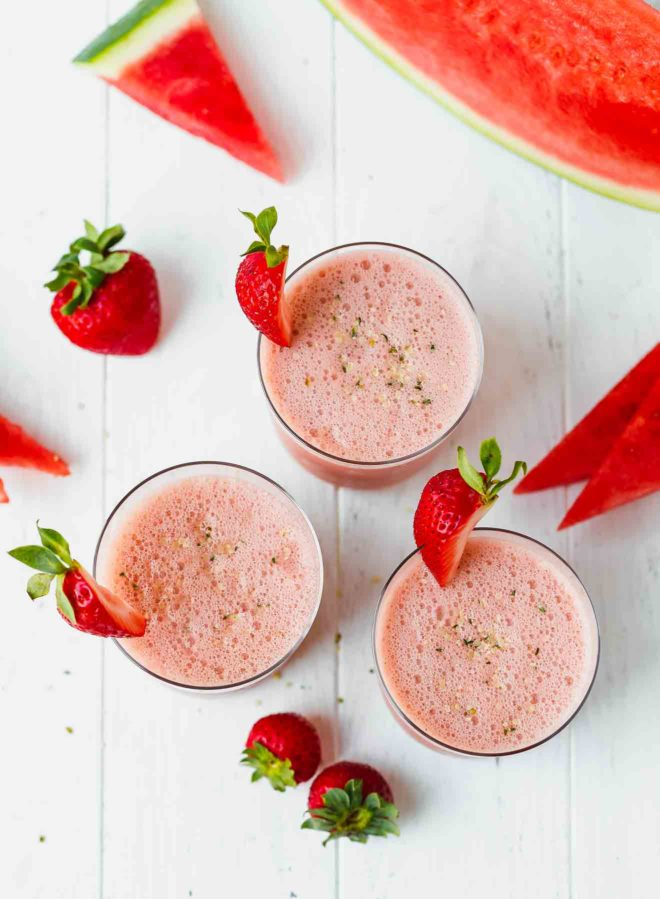 Easy Watermelon Smoothie Recipe in clear glasses with hemp seeds