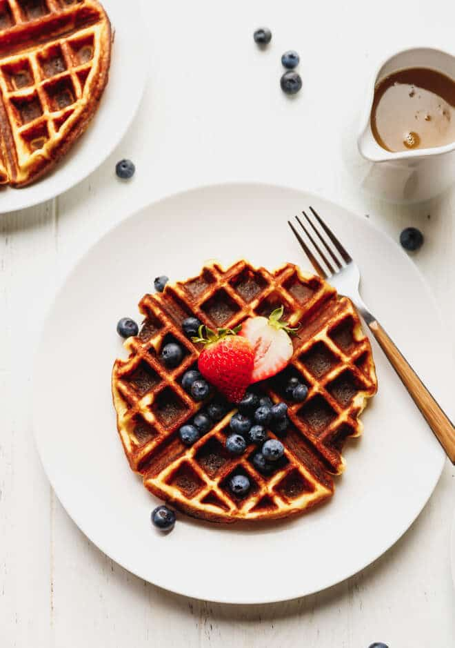 Crispy Keto Belgian Waffles on a white plate