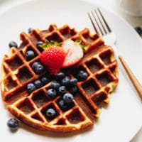 Keto waffles on a white plate with berries