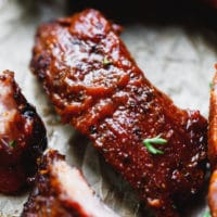 Smoked ribs with bbq sauce