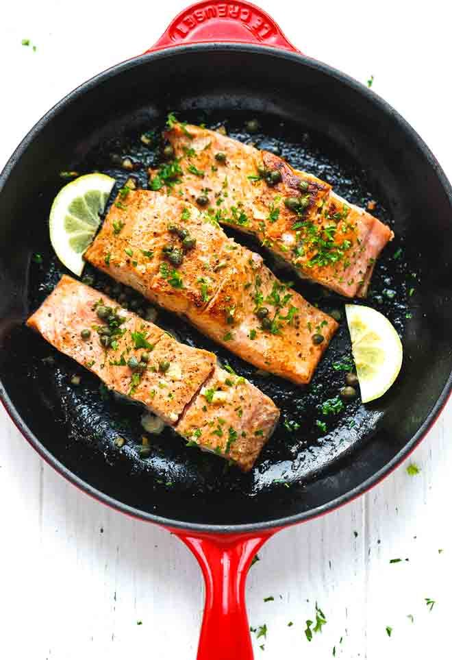 One pan lemon garlic salmon in a skillet
