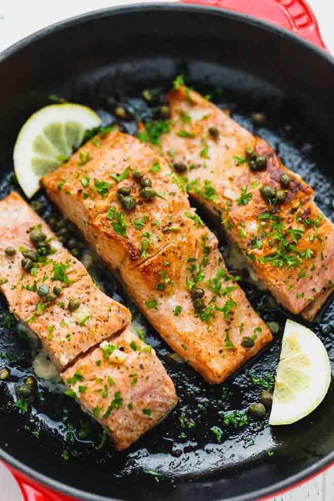 Salmon fillets in a cast iron skillet