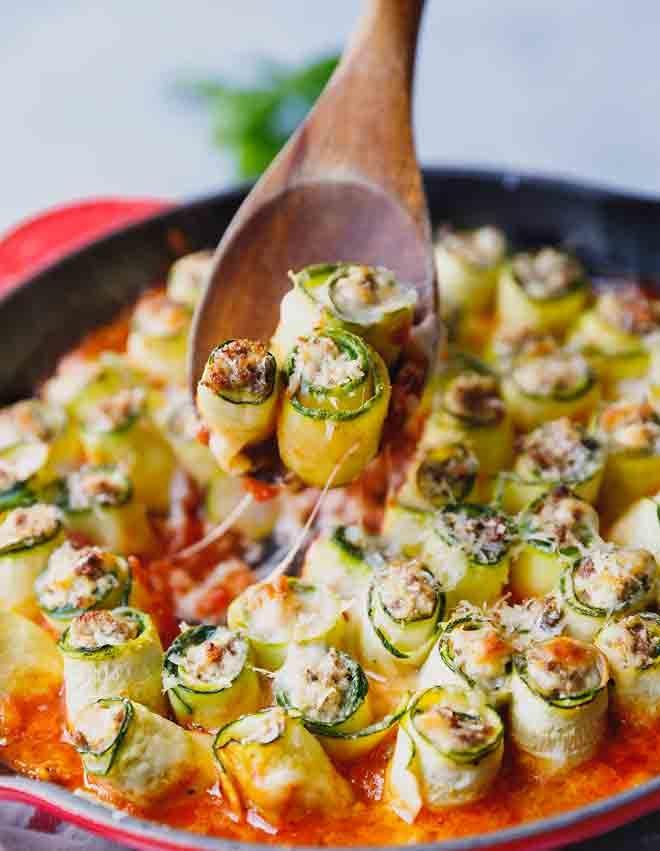 Zucchini Lasagna Roll Ups in a pan