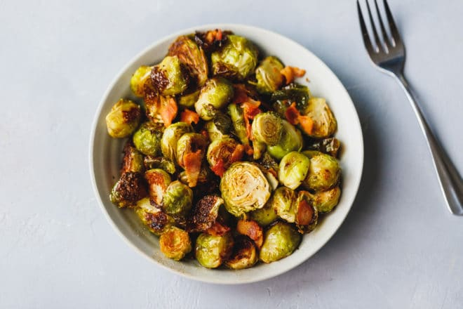 Baked Brussel Sprouts With Bacon in a bowl