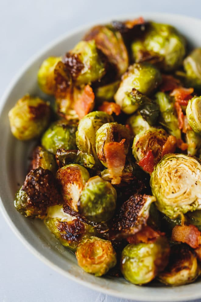 Charred Baked Brussel Sprouts in a bowl