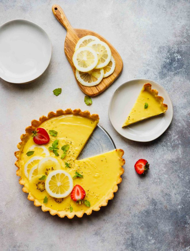 A slice of low-carb Keto lemon curd on a plate