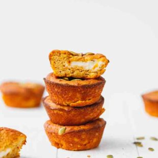 Low-carb pumpkin muffins on top of each other