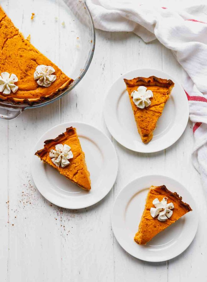 Slices of low-carb pumpkin pie on plates