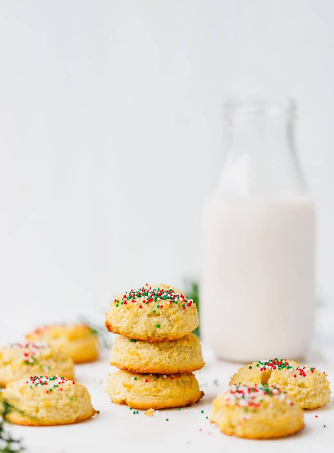 Low-carb sugar cookies stacked on top of each other