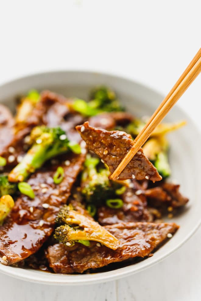 Beef and broccoli on a chopstick