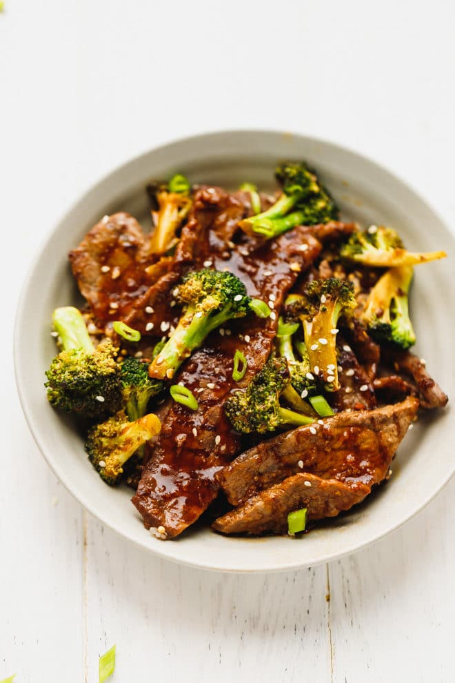 Beef and broccoli in a bowl
