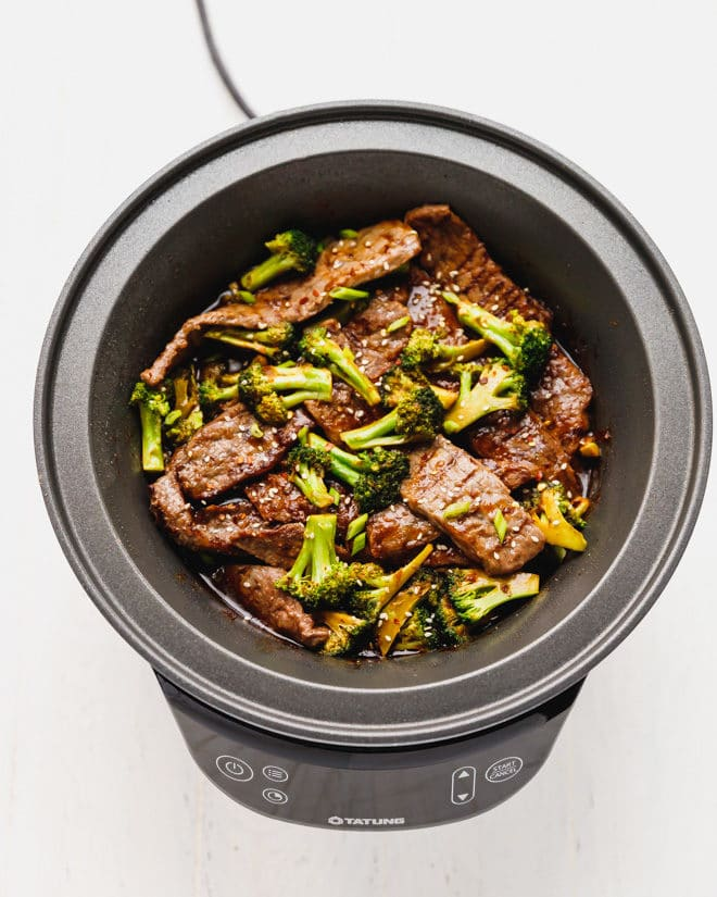 Beef and broccoli in a Fusion Cooker