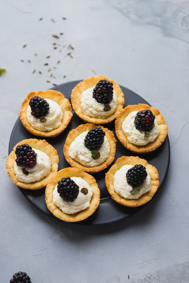 Low-Carb Lavender Blackberry Tarts