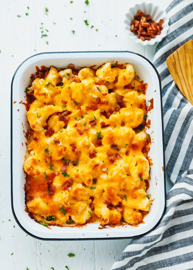 low-carb cauliflower casserole in a baking dish