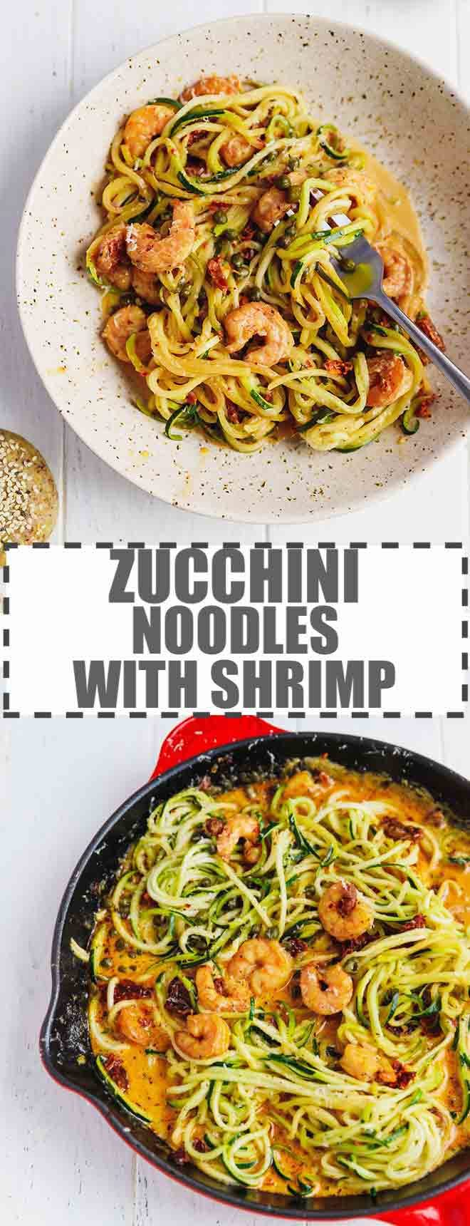 ZUCCHINI NOODLES WITH SHRIMP IN A BOWL