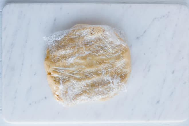 low-carb pie crust wrapped in plastic wrap