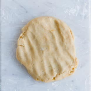 Low-carb pie crust on a kitchen counter