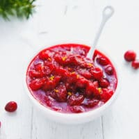 Sugar-free cranberry sauce in a white ceramic bowl