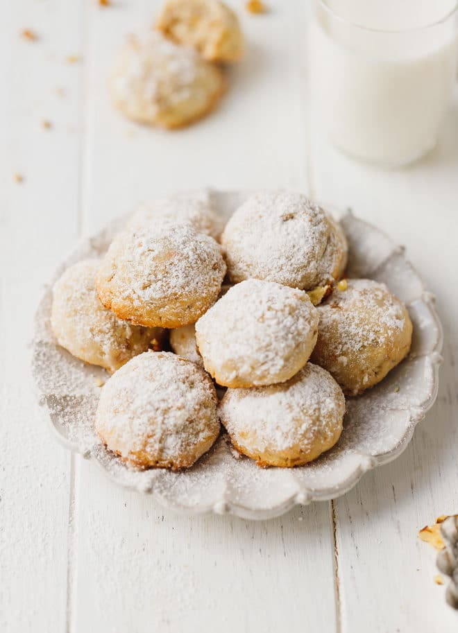 Walnut Snowball Cookies on a white plate