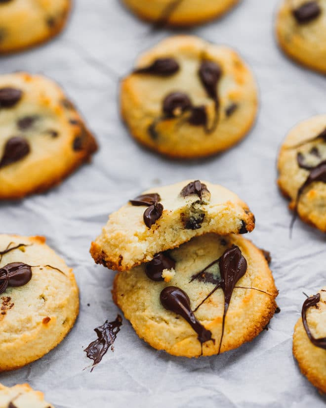 Keto chocolate chop cookies on a baking sheet