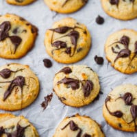 Keto Chocolate Chip Cookies On Parchment Paper