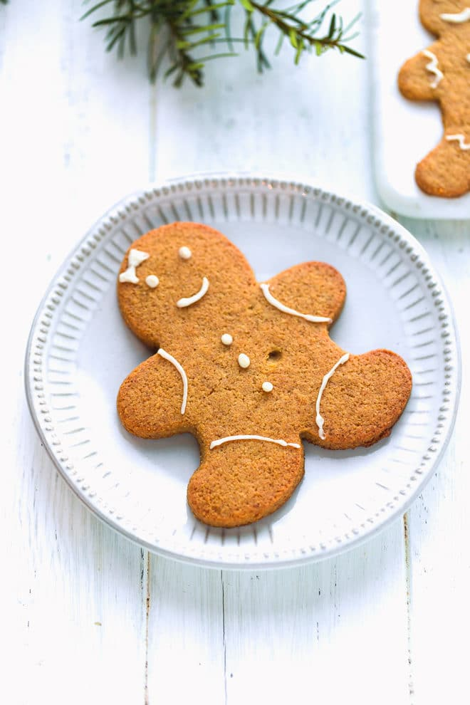 Keto gingerbread cookie on a plate