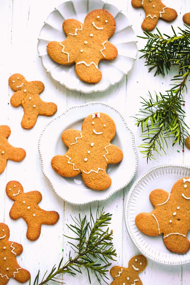 Keto gingerbread cookies on a plate