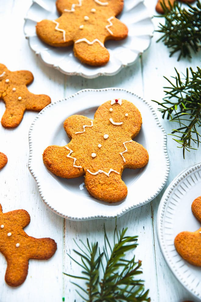 Golden brown Keto gingerbread cookies on a plate