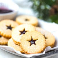 Keto Linzer cookies with a star cut out