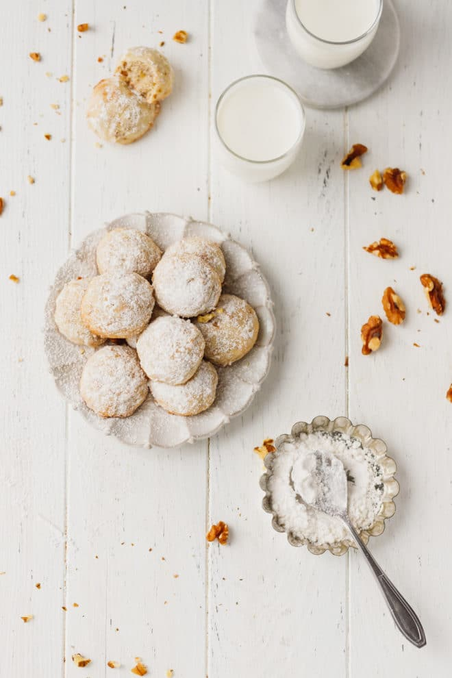 Walnut Snowball Cookies on a plate