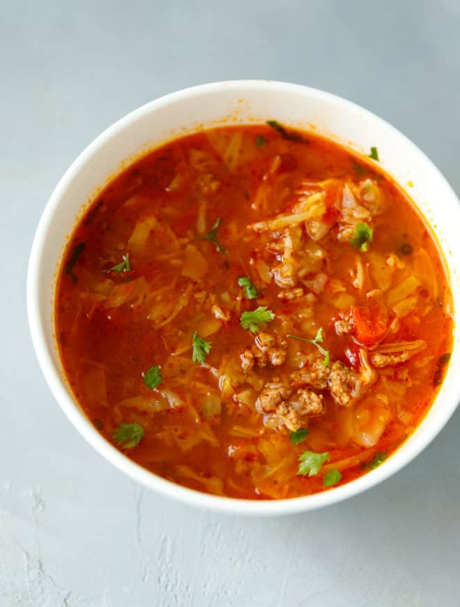 Low carb cabbage soup in a bowl