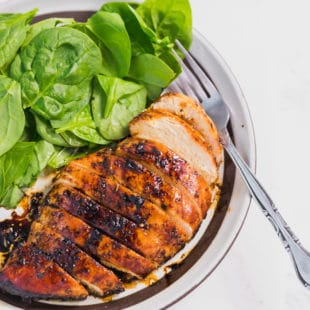 Baked Balsamic Chicken Breast on a plate