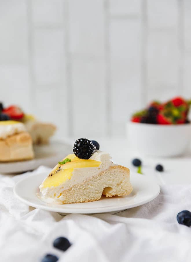 A slice of Keto Pavlova on a plate