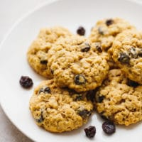 Oatmeal raisin cookies on a plate