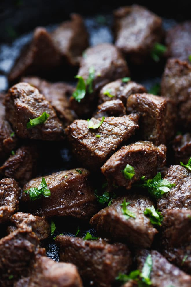 Sirloin steak bites in a pan