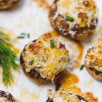 The best stuffed mushrooms on a baking dish