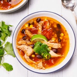 Chicken tortilla soup in a bowl