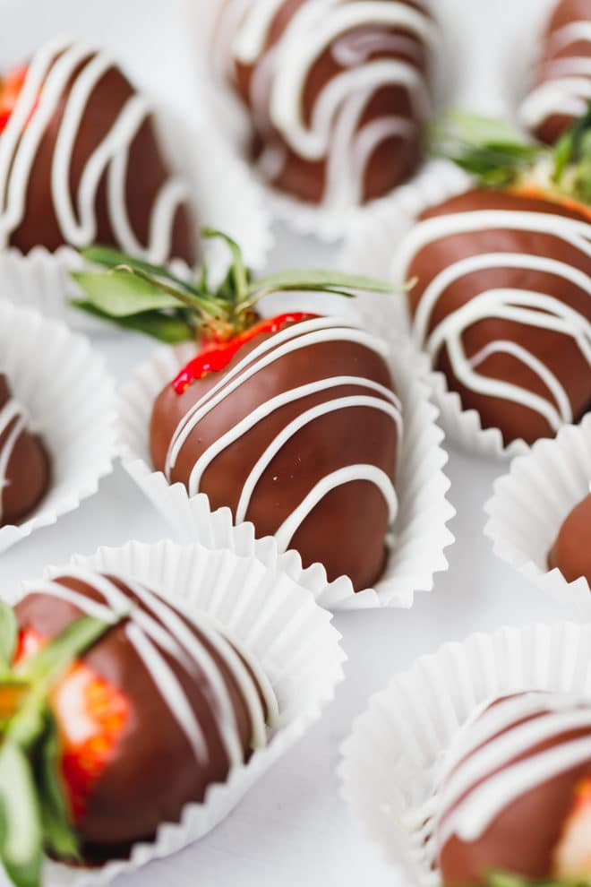 Chocolate dipped strawberries on paper liners